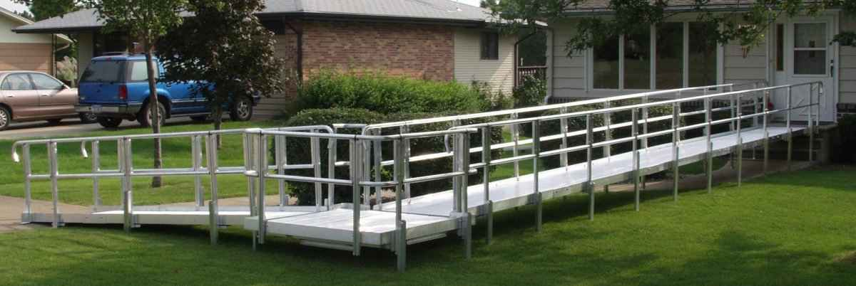 Modular wheelchair ramp 1 adaptive access for Prefab wheelchair ramp
