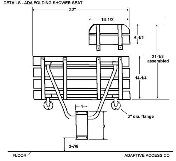 Bon ADA Folding Shower Seat Dimensions